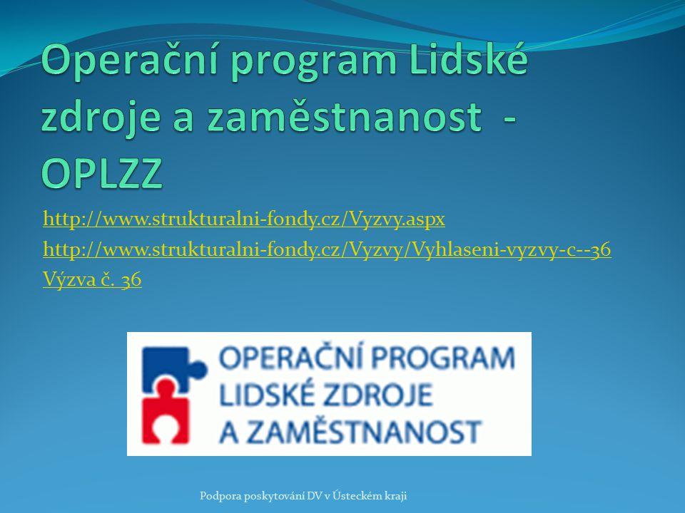 http://www.strukturalni-fondy.cz/Vyzvy.aspx http://www.strukturalni-fondy.cz/Vyzvy/Vyhlaseni-vyzvy-c--36 Výzva č. 36 Podpora poskytování DV v Ústeckém