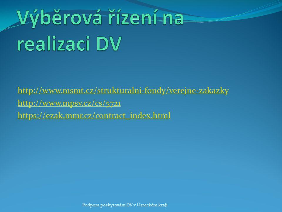 http://www.msmt.cz/strukturalni-fondy/verejne-zakazky http://www.mpsv.cz/cs/5721 https://ezak.mmr.cz/contract_index.html Podpora poskytování DV v Úste