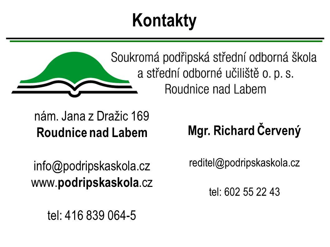 Kontakty nám. Jana z Dražic 169 Roudnice nad Labem info@podripskaskola.cz www.