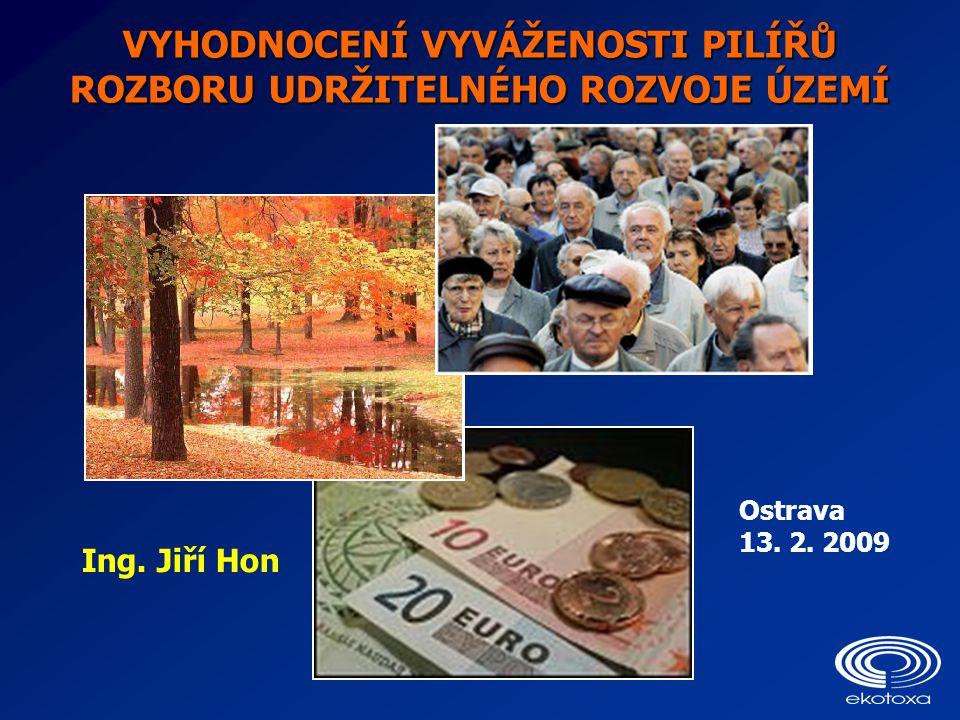 VYHODNOCENÍ VYVÁŽENOSTI PILÍŘŮ ROZBORU UDRŽITELNÉHO ROZVOJE ÚZEMÍ Ostrava 13. 2. 2009 Ing. Jiří Hon