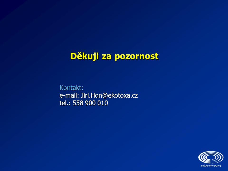 Děkuji za pozornost Kontakt: e-mail: Jiri.Hon@ekotoxa.cz tel.: 558 900 010