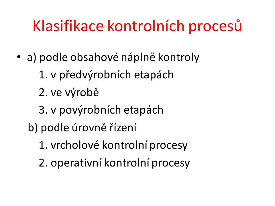 Klasifikace kontrolních procesů a) podle obsahové náplně kontroly 1. v předvýrobních etapách 2. ve výrobě 3. v povýrobních etapách b) podle úrovně říz