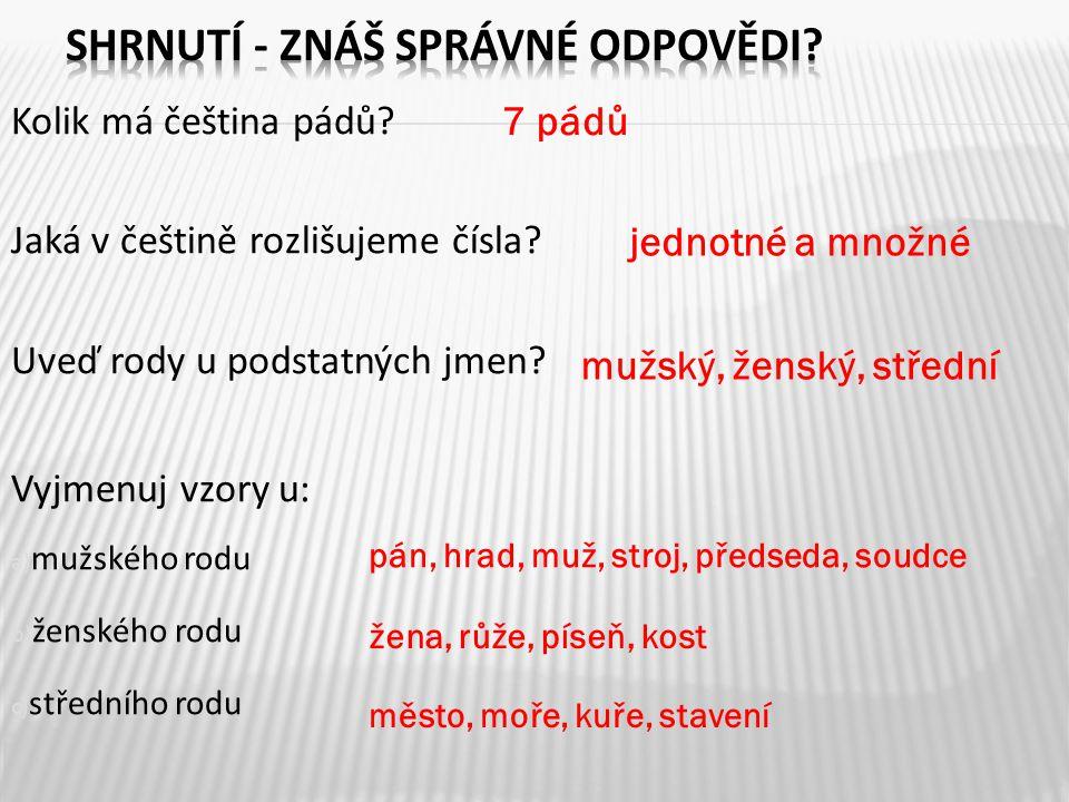 Kolik má čeština pádů? Jaká v češtině rozlišujeme čísla? Uveď rody u podstatných jmen? Vyjmenuj vzory u: a) mužského rodu b) ženského rodu c) středníh