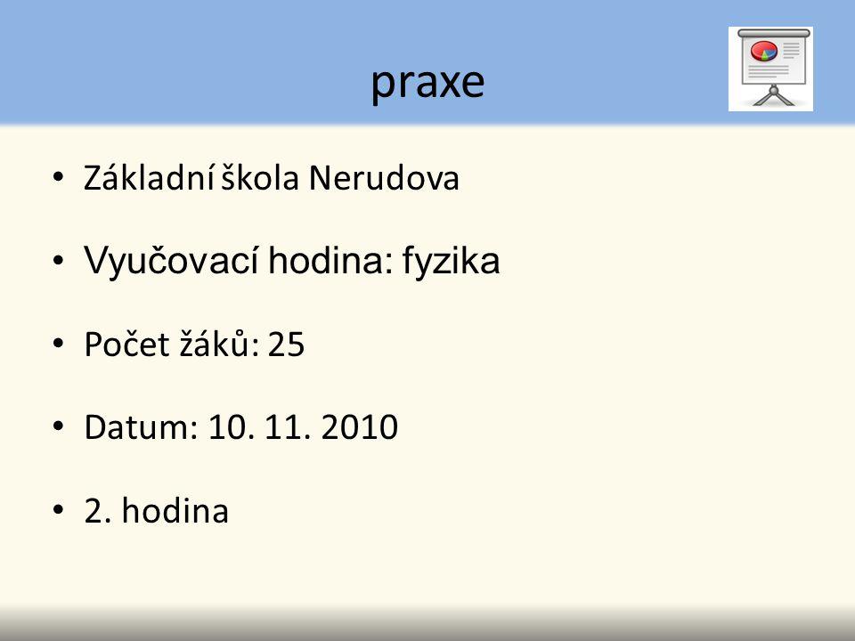 praxe Základní škola Nerudova Vyučovací hodina: fyzika Počet žáků: 25 Datum: 10. 11. 2010 2. hodina