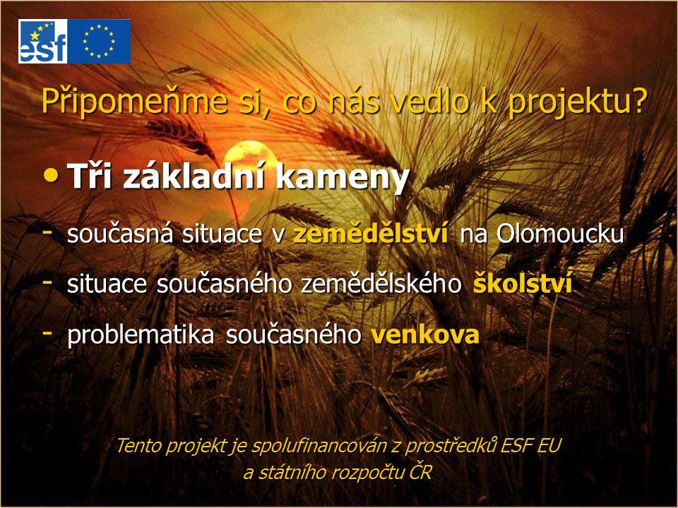 Připomeňme si, co nás vedlo k projektu? Tři základní kameny Tři základní kameny - současná situace v zemědělství na Olomoucku - situace současného zem