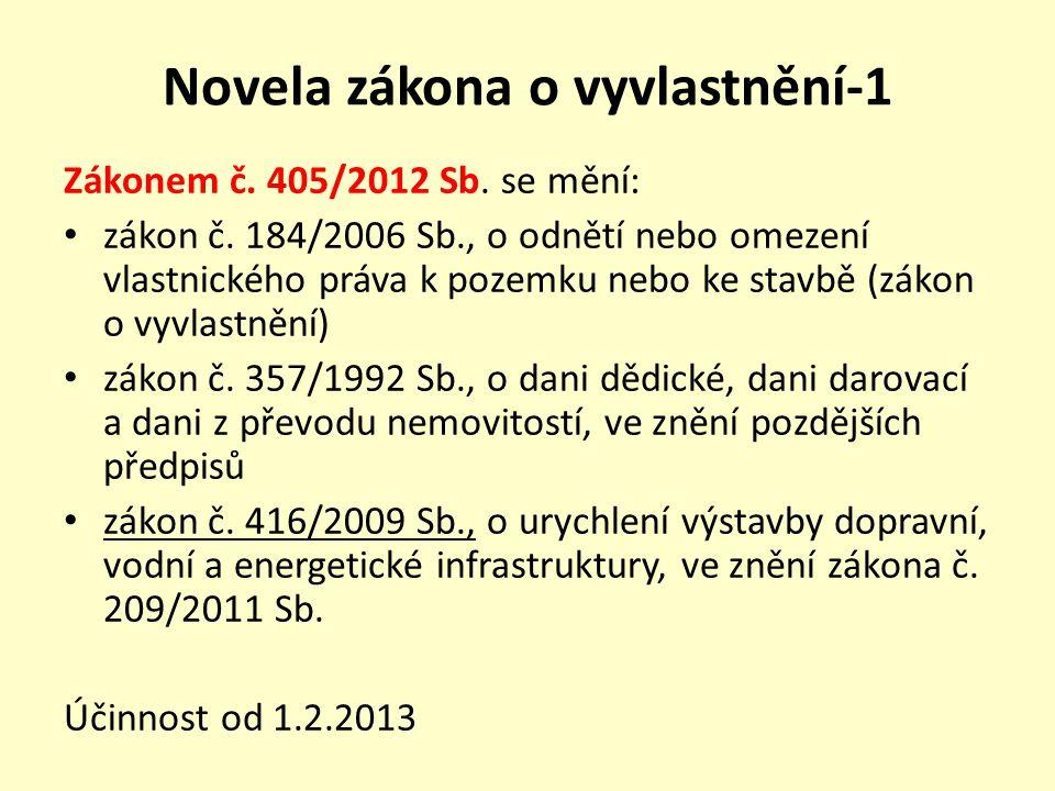 Novela zákona o vyvlastnění-1 Zákonem č. 405/2012 Sb.