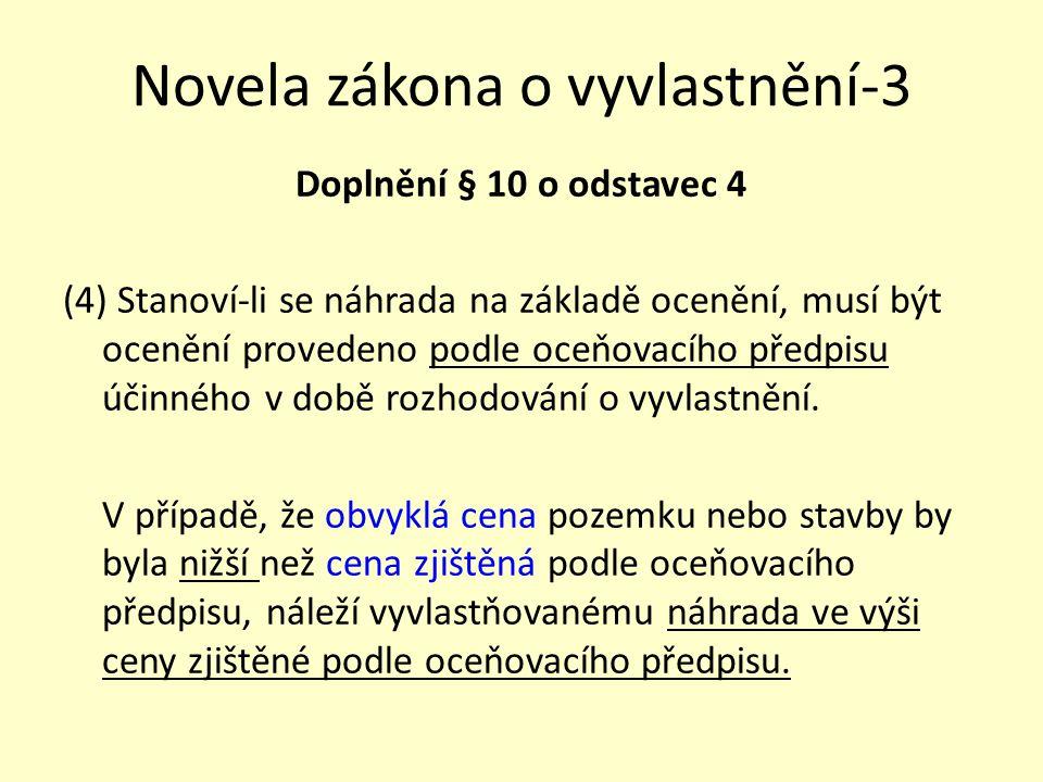 Novela zákona o vyvlastnění-3 Doplnění § 10 o odstavec 4 (4) Stanoví-li se náhrada na základě ocenění, musí být ocenění provedeno podle oceňovacího př