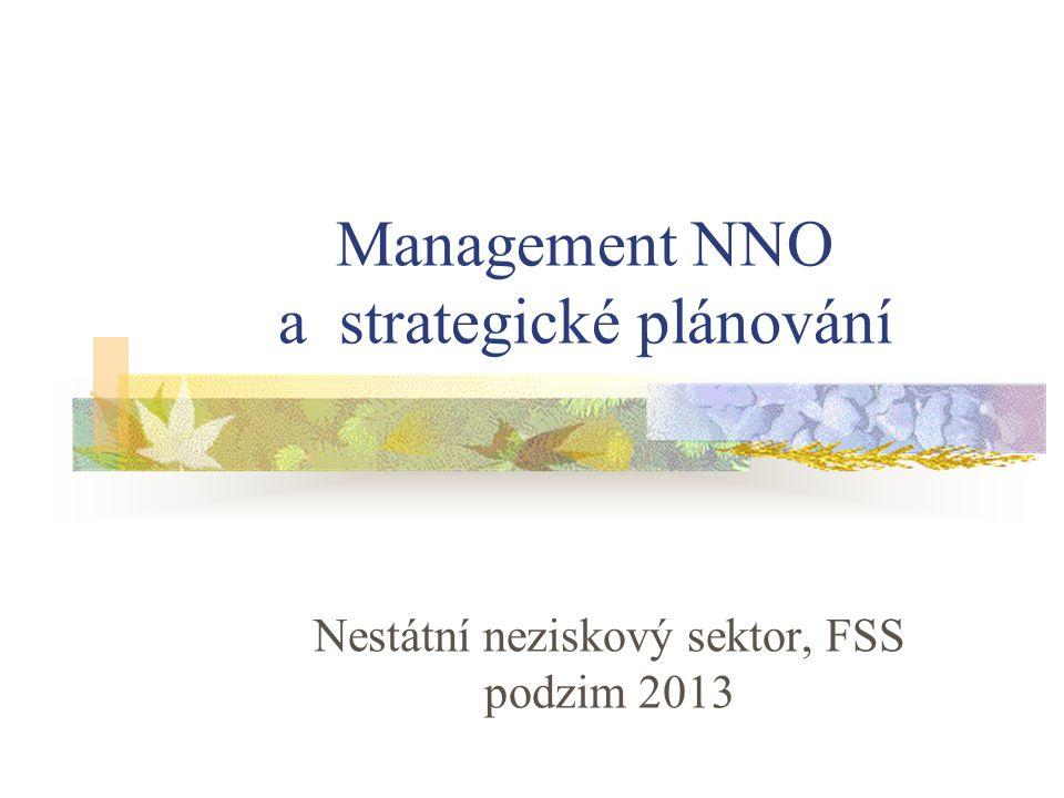 Management NNO a strategické plánování Nestátní neziskový sektor, FSS podzim 2013