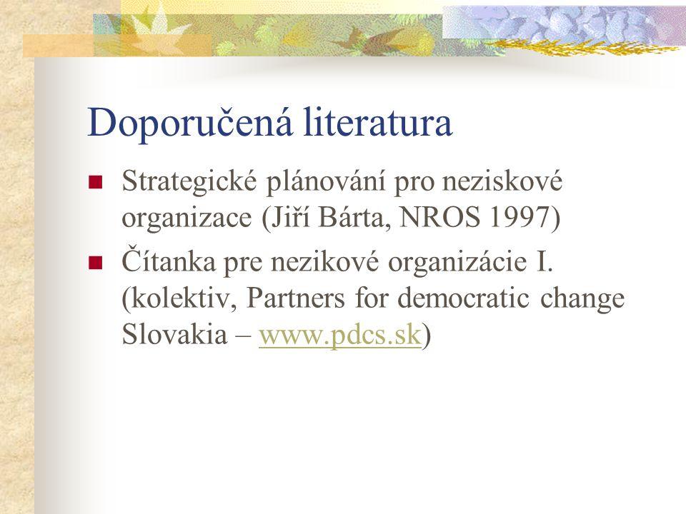 Doporučená literatura Strategické plánování pro neziskové organizace (Jiří Bárta, NROS 1997) Čítanka pre nezikové organizácie I. (kolektiv, Partners f