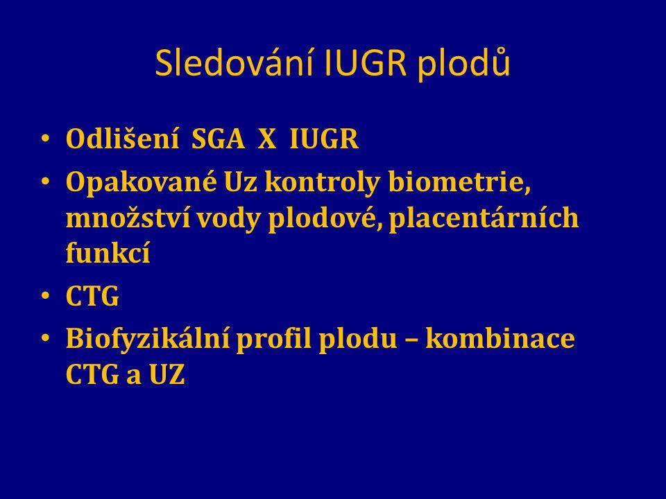 Sledování IUGR plodů Odlišení SGA X IUGR Opakované Uz kontroly biometrie, množství vody plodové, placentárních funkcí CTG Biofyzikální profil plodu –