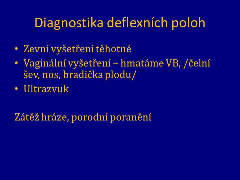 Diagnostika deflexních poloh Zevní vyšetření těhotné Vaginální vyšetření – hmatáme VB, /čelní šev, nos, bradička plodu/ Ultrazvuk Zátěž hráze, porodní