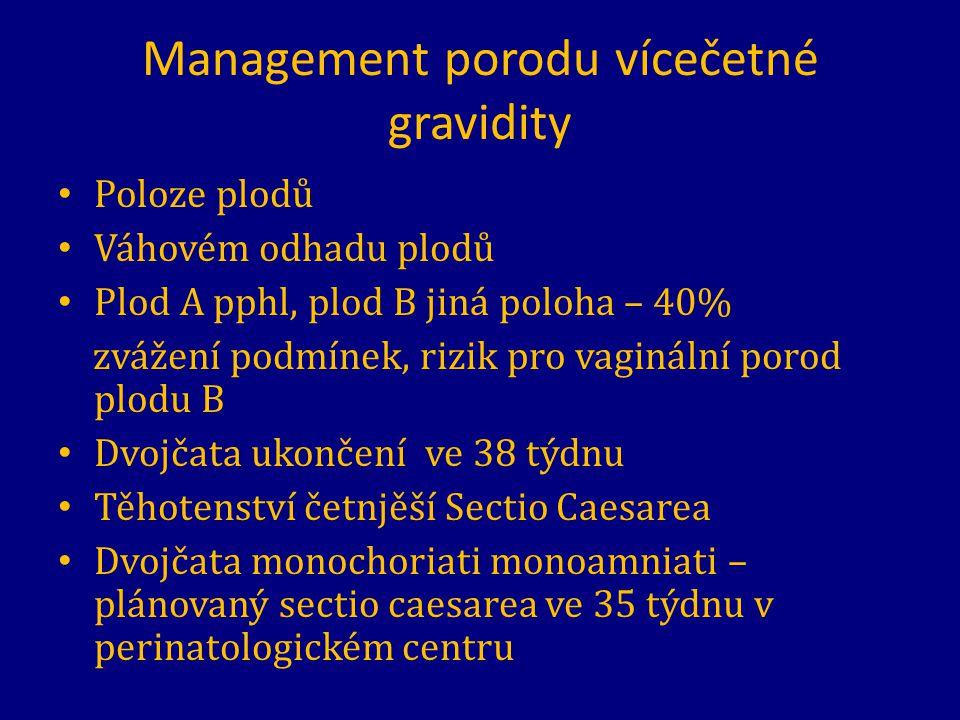 Management porodu vícečetné gravidity Poloze plodů Váhovém odhadu plodů Plod A pphl, plod B jiná poloha – 40% zvážení podmínek, rizik pro vaginální po