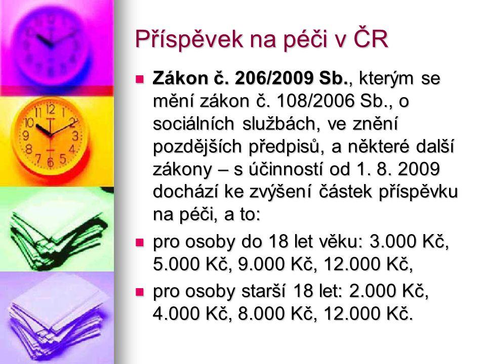 Příspěvek na péči v ČR Zákon č. 206/2009 Sb., kterým se mění zákon č.