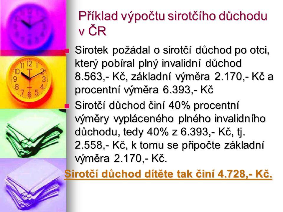 Příklad výpočtu sirotčího důchodu v ČR Sirotek požádal o sirotčí důchod po otci, který pobíral plný invalidní důchod 8.563,- Kč, základní výměra 2.170,- Kč a procentní výměra 6.393,- Kč Sirotek požádal o sirotčí důchod po otci, který pobíral plný invalidní důchod 8.563,- Kč, základní výměra 2.170,- Kč a procentní výměra 6.393,- Kč Sirotčí důchod činí 40% procentní výměry vypláceného plného invalidního důchodu, tedy 40% z 6.393,- Kč, tj.