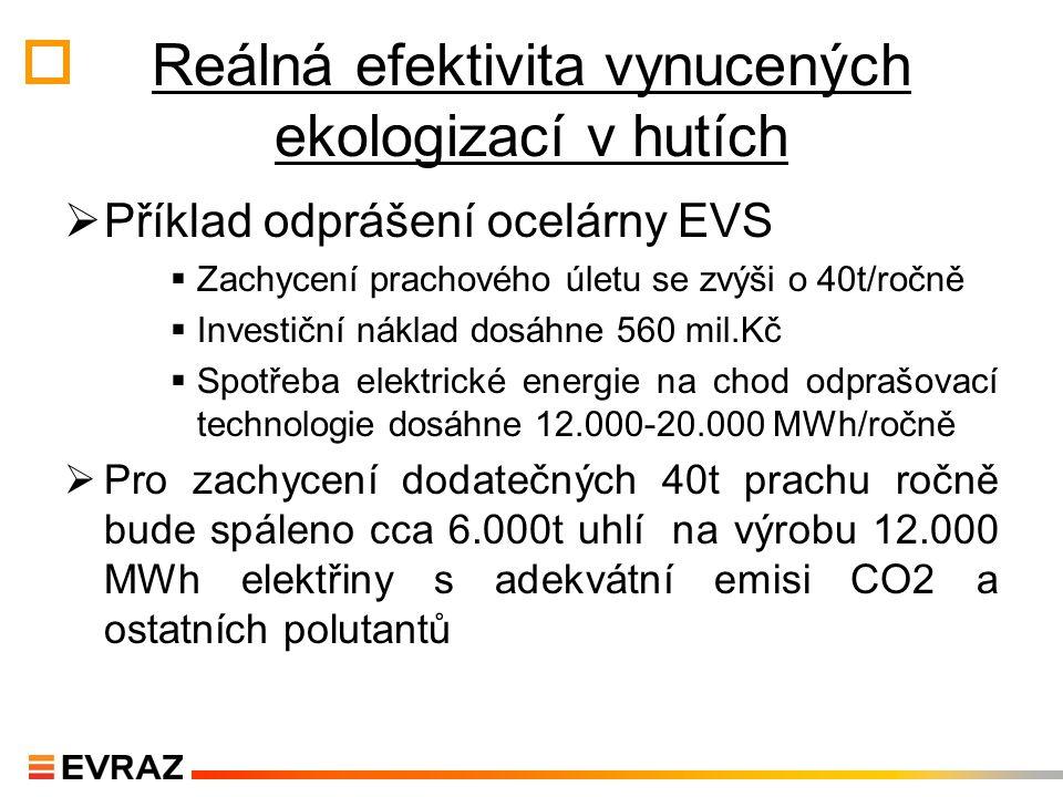 """Úspora v energetické náročnosti efektivnější než FVE  Hutní průmysl má potenciál úspor přesahující reálný efekt """"zelené elektřiny  Rozdíl v energetické náročnosti rudné nebo šrotové technologie výroby představuje 11GJ/t oceli."""