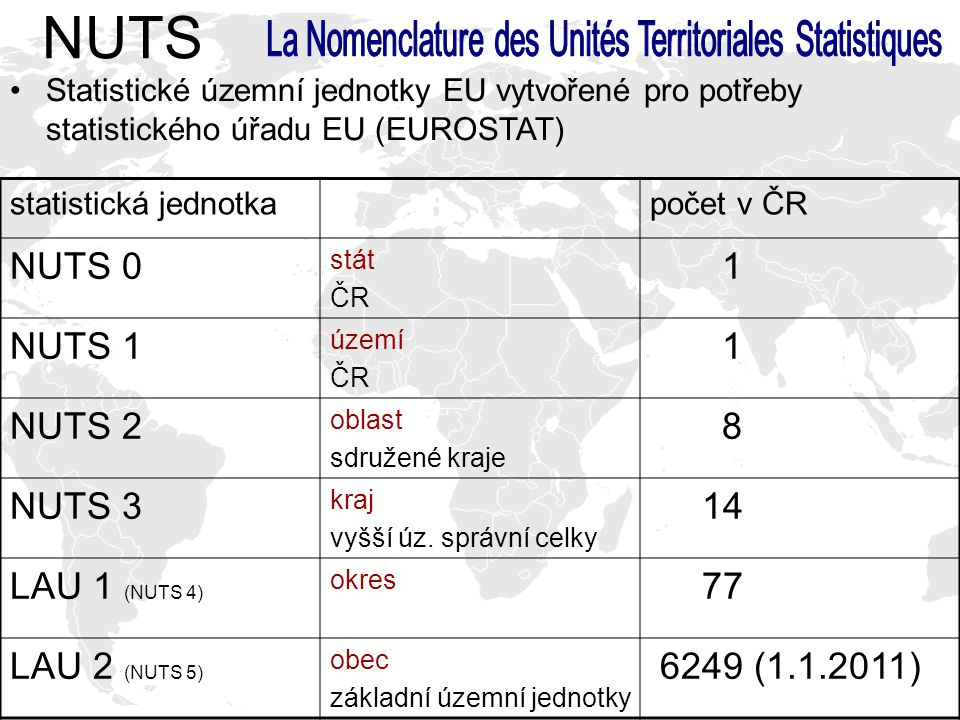 statistická jednotkapočet v ČR NUTS 0 stát ČR 1 NUTS 1 území ČR 1 NUTS 2 oblast sdružené kraje 8 NUTS 3 kraj vyšší úz. správní celky 14 LAU 1 (NUTS 4)