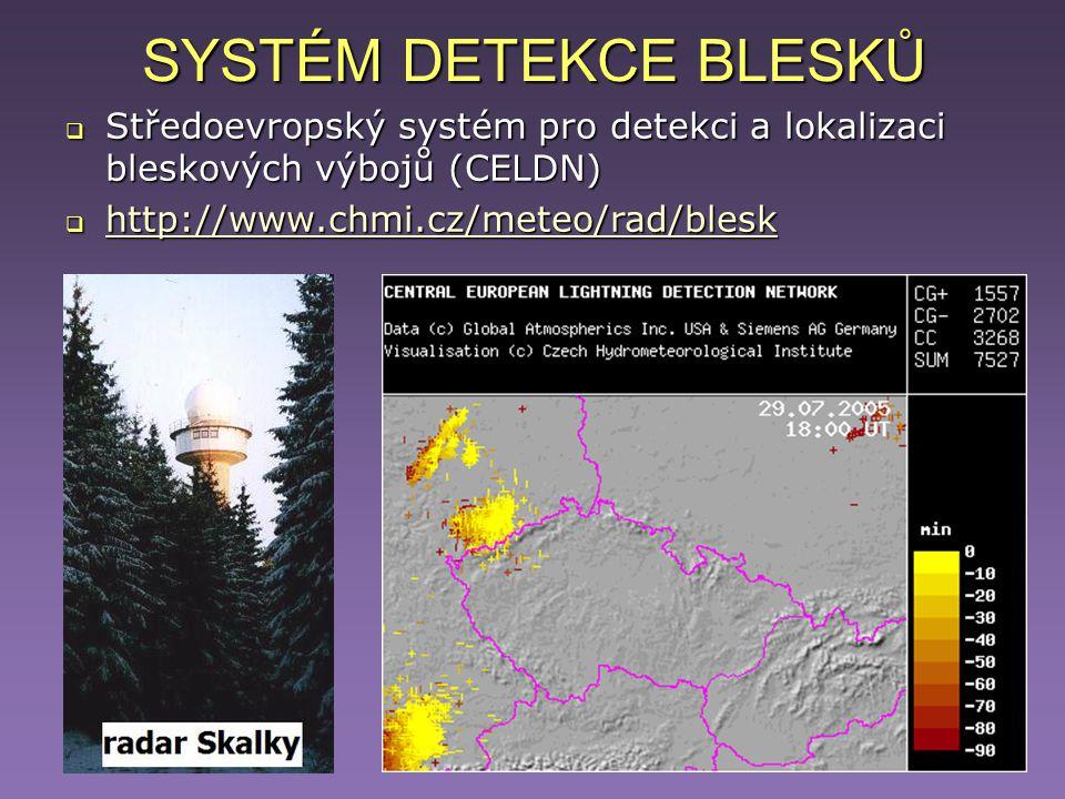 SYSTÉM DETEKCE BLESKŮ  Středoevropský systém pro detekci a lokalizaci bleskových výbojů (CELDN)  http://www.chmi.cz/meteo/rad/blesk http://www.chmi.