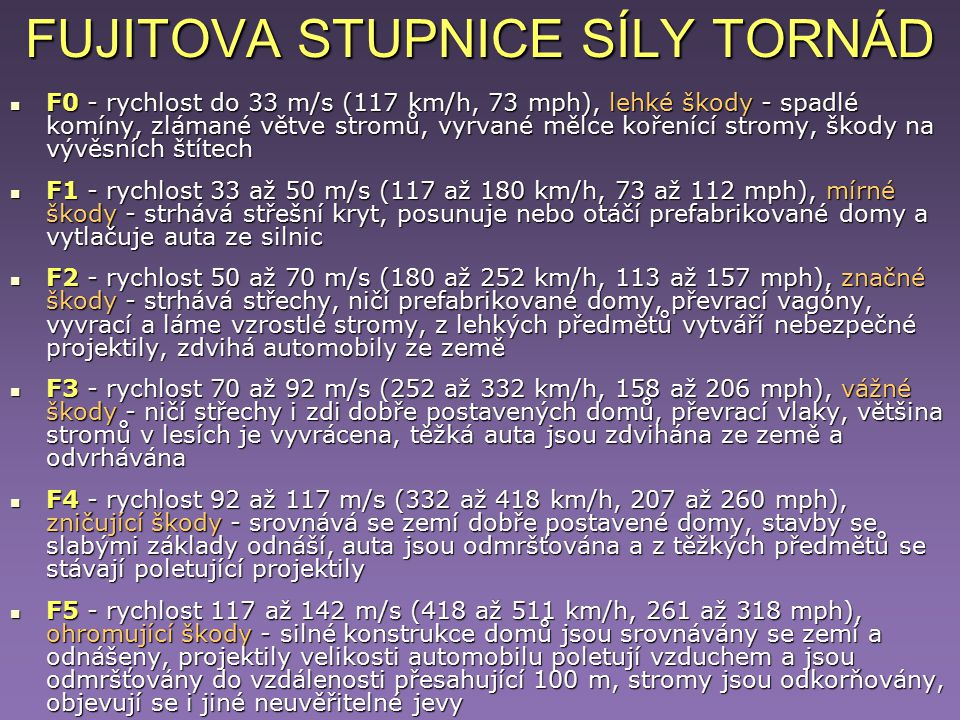 FUJITOVA STUPNICE SÍLY TORNÁD F0 - rychlost do 33 m/s (117 km/h, 73 mph), lehké škody - spadlé komíny, zlámané větve stromů, vyrvané mělce kořenící st