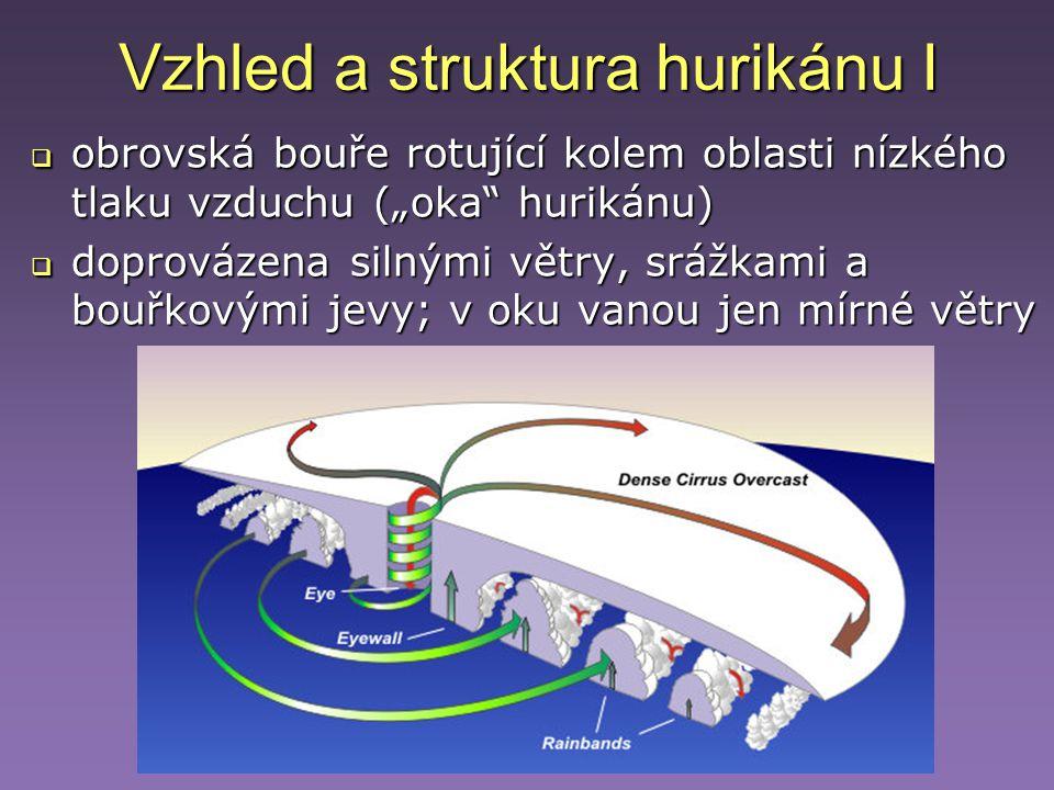 """Vzhled a struktura hurikánu I  obrovská bouře rotující kolem oblasti nízkého tlaku vzduchu (""""oka"""" hurikánu)  doprovázena silnými větry, srážkami a b"""