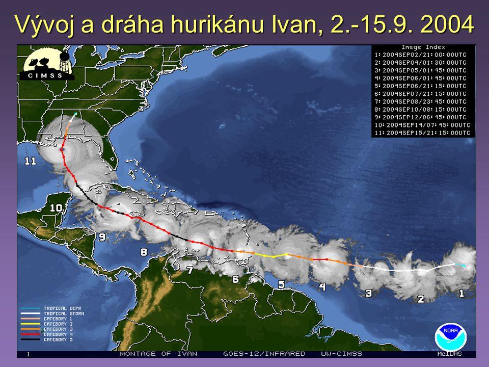 Vývoj a dráha hurikánu Ivan, 2.-15.9. 2004