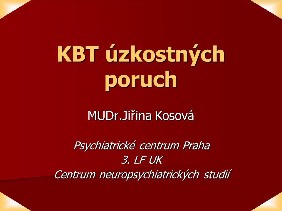 KBT úzkostných poruch MUDr.Jiřina Kosová Psychiatrické centrum Praha 3.