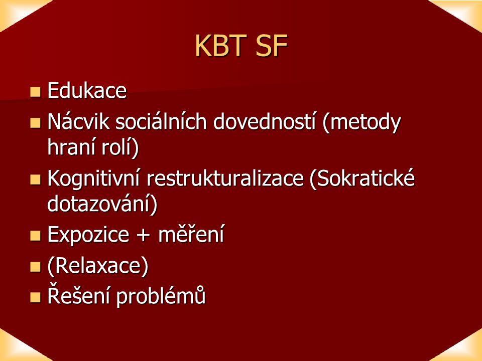KBT SF Edukace Edukace Nácvik sociálních dovedností (metody hraní rolí) Nácvik sociálních dovedností (metody hraní rolí) Kognitivní restrukturalizace (Sokratické dotazování) Kognitivní restrukturalizace (Sokratické dotazování) Expozice + měření Expozice + měření (Relaxace) (Relaxace) Řešení problémů Řešení problémů