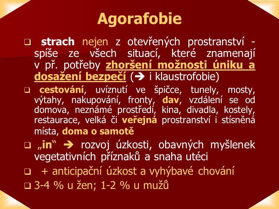 Agorafobie   strach nejen z otevřených prostranství - spíše ze všech situací, které znamenají v př.