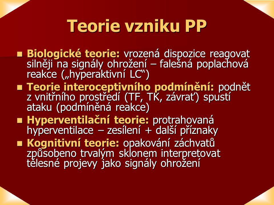 """Teorie vzniku PP Biologické teorie: vrozená dispozice reagovat silněji na signály ohrožení – falešná poplachová reakce (""""hyperaktivní LC ) Biologické teorie: vrozená dispozice reagovat silněji na signály ohrožení – falešná poplachová reakce (""""hyperaktivní LC ) Teorie interoceptivního podmínění: podnět z vnitřního prostředí (TF, TK, závrať) spustí ataku (podmíněná reakce) Teorie interoceptivního podmínění: podnět z vnitřního prostředí (TF, TK, závrať) spustí ataku (podmíněná reakce) Hyperventilační teorie: protrahovaná hyperventilace – zesílení + další příznaky Hyperventilační teorie: protrahovaná hyperventilace – zesílení + další příznaky Kognitivní teorie: opakování záchvatů způsobeno trvalým sklonem interpretovat tělesné projevy jako signály ohrožení Kognitivní teorie: opakování záchvatů způsobeno trvalým sklonem interpretovat tělesné projevy jako signály ohrožení"""