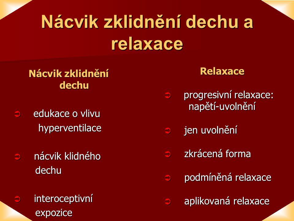 Nácvik zklidnění dechu a relaxace Nácvik zklidnění dechu  edukace o vlivu hyperventilace hyperventilace  nácvik klidného dechu dechu  interoceptivní expozice expoziceRelaxace  progresivní relaxace: napětí-uvolnění napětí-uvolnění  jen uvolnění  zkrácená forma  podmíněná relaxace  aplikovaná relaxace