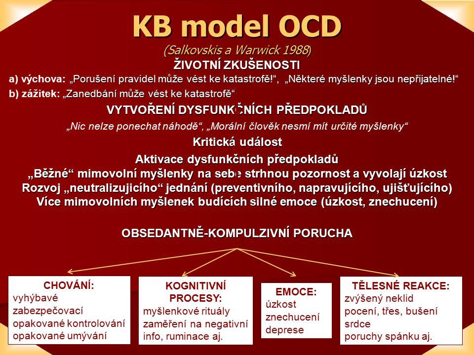 """KB model OCD (Salkovskis a Warwick 1988 ) ŽIVOTNÍ ZKUŠENOSTI """"Porušení pravidel může vést ke katastrofě! , """"Některé myšlenky jsou nepřijatelné! a) výchova: """"Porušení pravidel může vést ke katastrofě! , """"Některé myšlenky jsou nepřijatelné! """"Zanedbání může vést ke katastrofě b) zážitek: """"Zanedbání může vést ke katastrofě VYTVOŘENÍ DYSFUNKČNÍCH PŘEDPOKLADŮ """"Nic nelze ponechat náhodě , """"Morální člověk nesmí mít určité myšlenky Kritická událost Aktivace dysfunkčních předpokladů """"Běžné mimovolní myšlenky na sebe strhnou pozornost a vyvolají úzkost Rozvoj """"neutralizujicího jednání (preventivního, napravujícího, ujišťujícího) Více mimovolních myšlenek budících silné emoce (úzkost, znechucení) OBSEDANTNĚ-KOMPULZIVNÍ PORUCHA CHOVÁNÍ: vyhýbavé zabezpečovací opakované kontrolování opakované umývání KOGNITIVNÍ PROCESY: myšlenkové rituály zaměření na negativní info, ruminace aj."""
