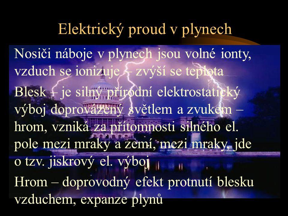 Elektrický proud v plynech Blesk – je silný přírodní elektrostatický výboj doprovázený světlem a zvukem – hrom, vzniká za přítomnosti silného el. pole