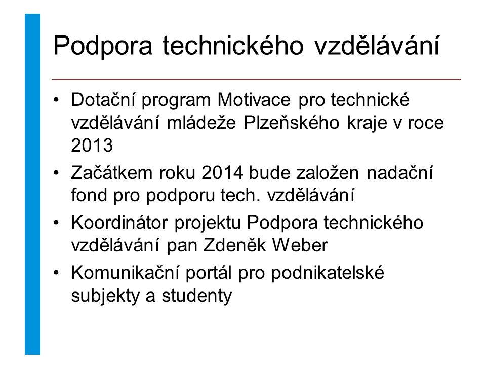 Podpora technického vzdělávání Dotační program Motivace pro technické vzdělávání mládeže Plzeňského kraje v roce 2013 Začátkem roku 2014 bude založen nadační fond pro podporu tech.