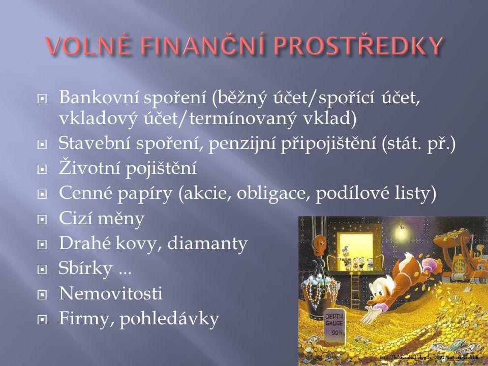  Bankovní spoření (běžný účet/spořící účet, vkladový účet/termínovaný vklad)  Stavební spoření, penzijní připojištění (stát. př.)  Životní pojištěn