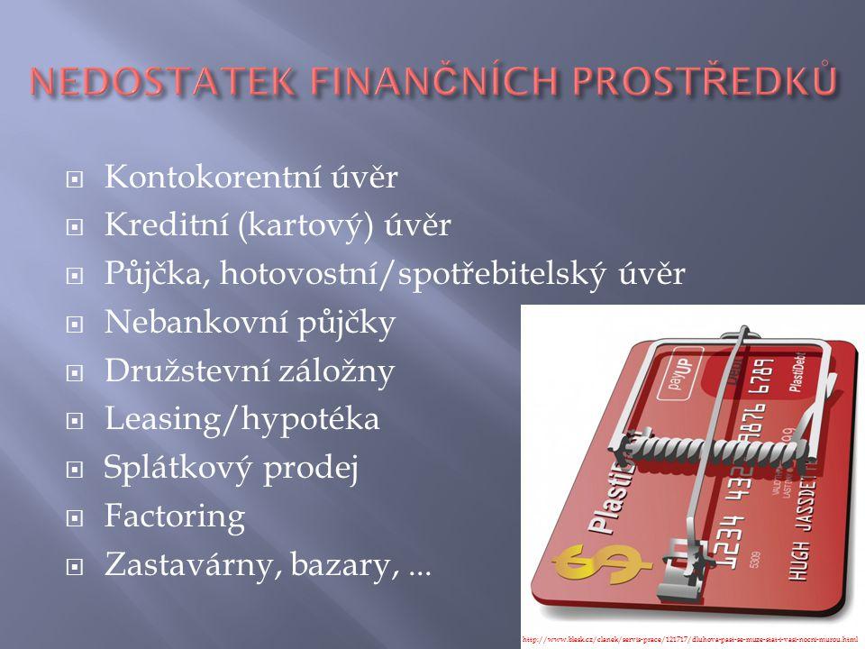  Kontokorentní úvěr  Kreditní (kartový) úvěr  Půjčka, hotovostní/spotřebitelský úvěr  Nebankovní půjčky  Družstevní záložny  Leasing/hypotéka 