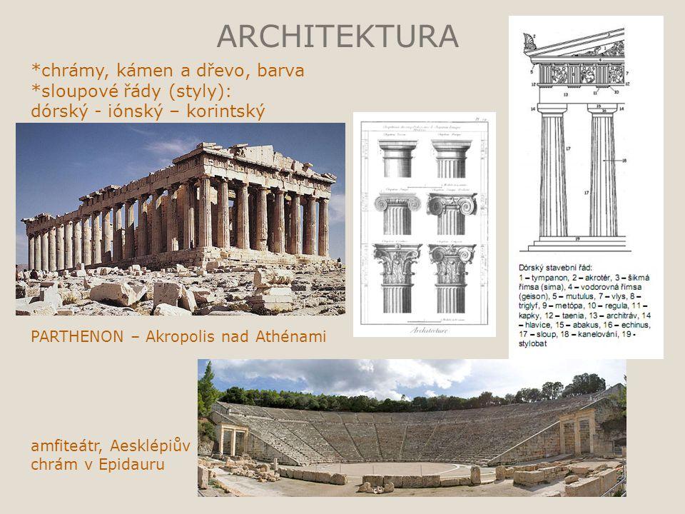 ARCHITEKTURA *chrámy, kámen a dřevo, barva *sloupové řády (styly): dórský - iónský – korintský PARTHENON – Akropolis nad Athénami amfiteátr, Aesklépiů