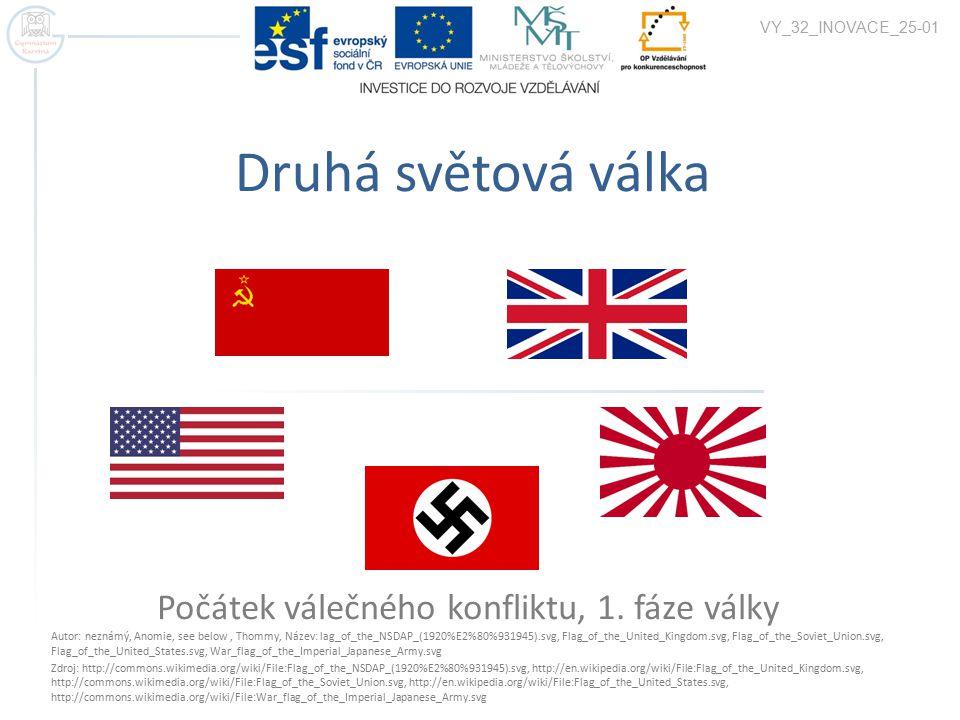 Charakteristiky války  globální vojenský konflikt, jehož se zúčastnila většina států světa  přes 60 milionů obětí – největší válka v dějinách lidstva  Hlavní aktéři  Země osy – nacistické Německo, císařské Japonsko, fašistická Itálie a další fašistické země jako spojenci (Slovenko, Maďarsko, Rumunsko, Chorvatsko, Finsko)  Státy protifašistické koalice – Britské impérium, USA, SSSR a jejich spojenci (Francie, Čína, Polsko, ČSR, Kanada, Austrálie, Norsko, Řecko, JAR, a další)