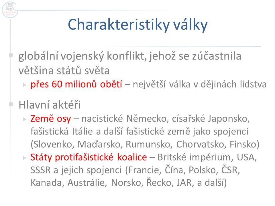 Charakteristiky války  Časové vymezení  1.9.1939 napadení Polska nacistickým Německem  8.5.