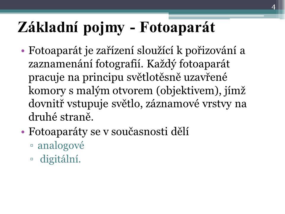 Základní pojmy - Fotoaparát Fotoaparát je zařízení sloužící k pořizování a zaznamenání fotografií.