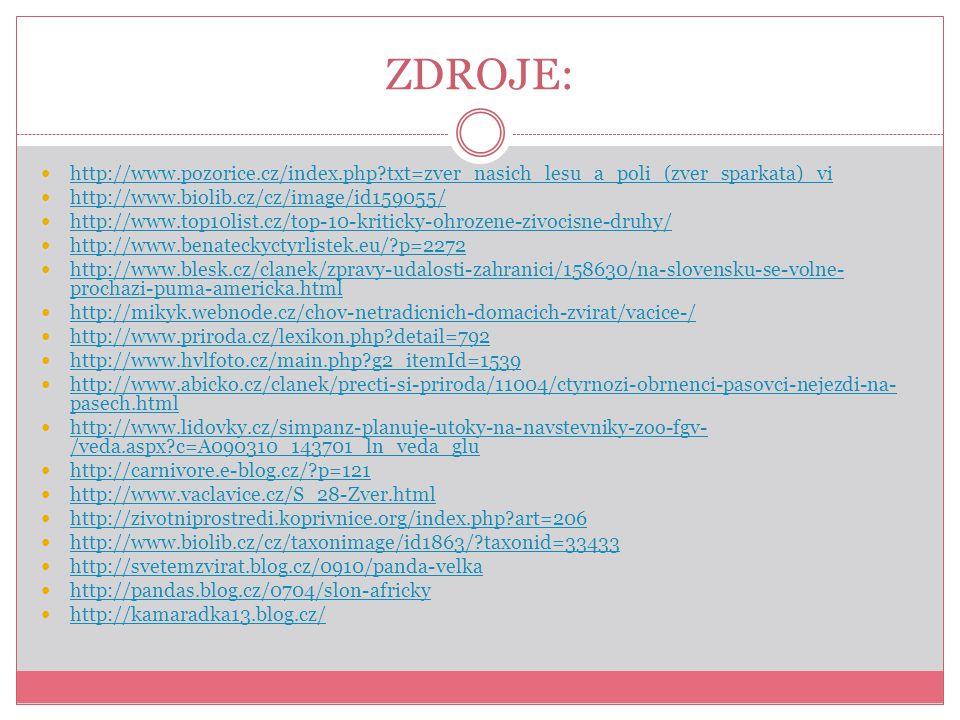 ZDROJE: http://www.pozorice.cz/index.php?txt=zver_nasich_lesu_a_poli_(zver_sparkata)_vi http://www.biolib.cz/cz/image/id159055/ http://www.top10list.c