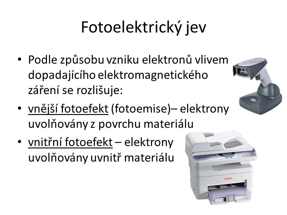 Fotoelektrický jev Podle způsobu vzniku elektronů vlivem dopadajícího elektromagnetického záření se rozlišuje: vnější fotoefekt (fotoemise)– elektrony uvolňovány z povrchu materiálu vnitřní fotoefekt – elektrony uvolňovány uvnitř materiálu