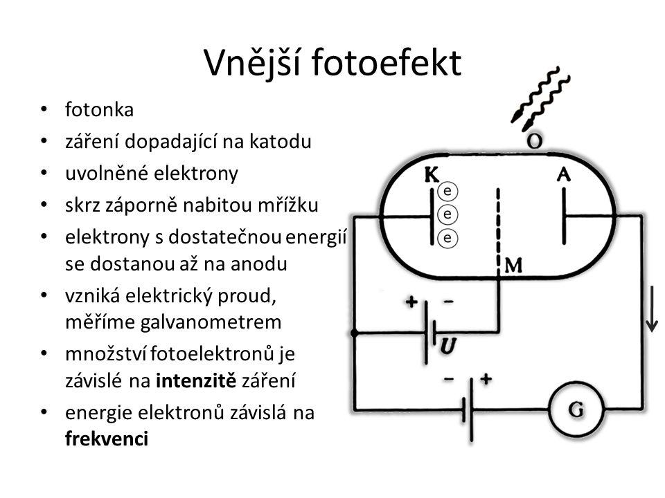 Vnější fotoefekt fotonka záření dopadající na katodu uvolněné elektrony skrz záporně nabitou mřížku elektrony s dostatečnou energií se dostanou až na anodu vzniká elektrický proud, měříme galvanometrem množství fotoelektronů je závislé na intenzitě záření energie elektronů závislá na frekvenci