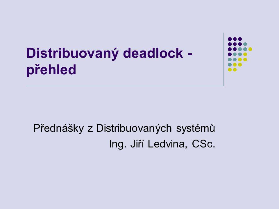 Deadlock2 Distribuovaný deadlock Soubor procesů, blokovaných čekáním na podmínky, které nemohou nastat Ilustrace grafem WFG – Wait For Graph uzly jsou procesy v systému orientované hrany – zachycují vztahy blokování Starvation – procesu je bráněno v pokračování (vyhladovění) není deadlock