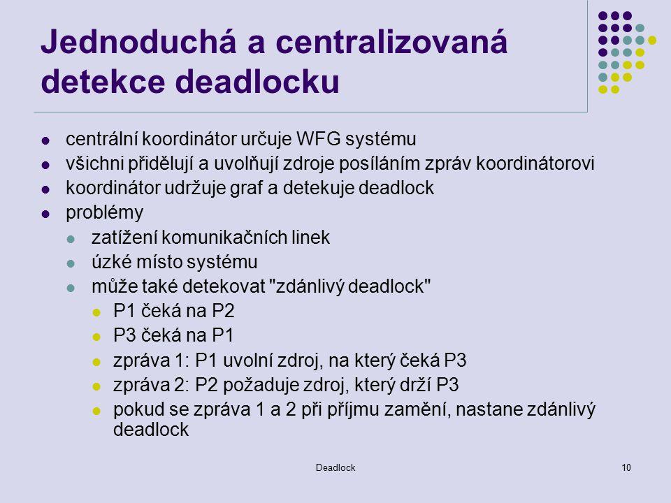 Deadlock10 Jednoduchá a centralizovaná detekce deadlocku centrální koordinátor určuje WFG systému všichni přidělují a uvolňují zdroje posíláním zpráv koordinátorovi koordinátor udržuje graf a detekuje deadlock problémy zatížení komunikačních linek úzké místo systému může také detekovat zdánlivý deadlock P1 čeká na P2 P3 čeká na P1 zpráva 1: P1 uvolní zdroj, na který čeká P3 zpráva 2: P2 požaduje zdroj, který drží P3 pokud se zpráva 1 a 2 při příjmu zamění, nastane zdánlivý deadlock