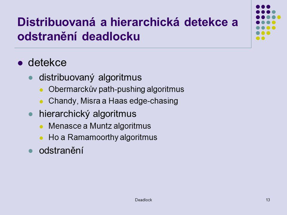 Deadlock13 Distribuovaná a hierarchická detekce a odstranění deadlocku detekce distribuovaný algoritmus Obermarckův path-pushing algoritmus Chandy, Misra a Haas edge-chasing hierarchický algoritmus Menasce a Muntz algoritmus Ho a Ramamoorthy algoritmus odstranění