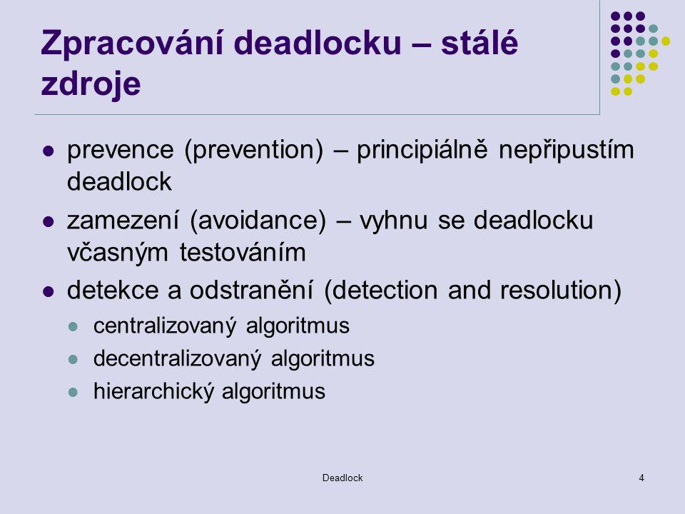 Deadlock4 Zpracování deadlocku – stálé zdroje prevence (prevention) – principiálně nepřipustím deadlock zamezení (avoidance) – vyhnu se deadlocku včasným testováním detekce a odstranění (detection and resolution) centralizovaný algoritmus decentralizovaný algoritmus hierarchický algoritmus
