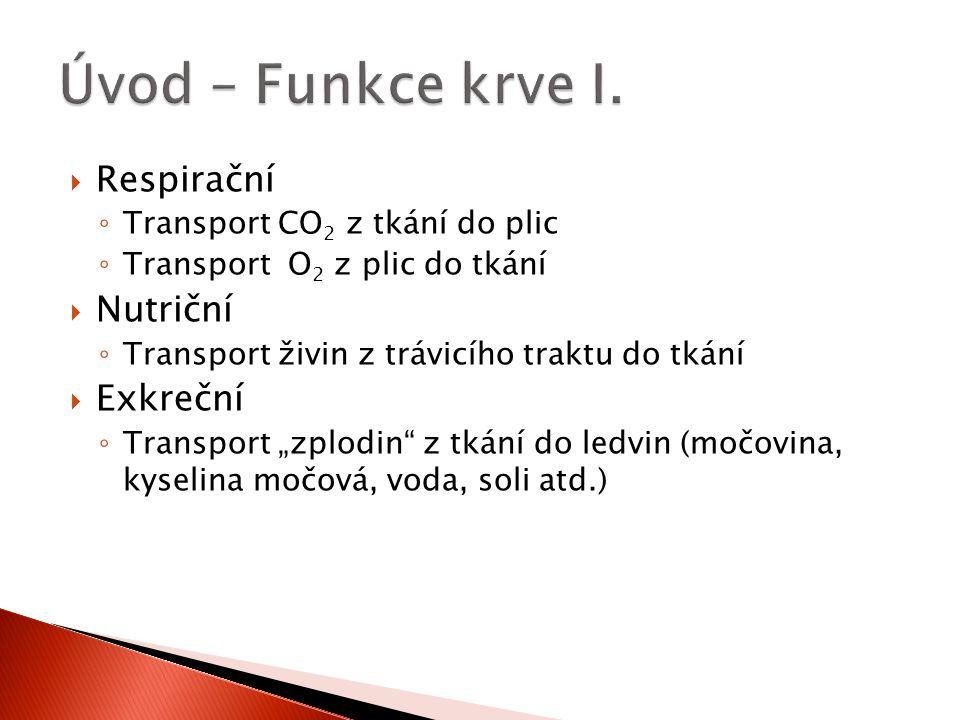  Respirační ◦ Transport CO 2 z tkání do plic ◦ Transport O 2 z plic do tkání  Nutriční ◦ Transport živin z trávicího traktu do tkání  Exkreční ◦ Tr
