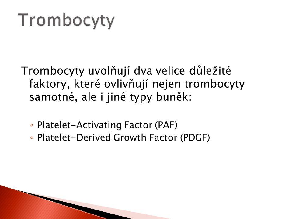 Trombocyty uvolňují dva velice důležité faktory, které ovlivňují nejen trombocyty samotné, ale i jiné typy buněk: ◦ Platelet-Activating Factor (PAF) ◦
