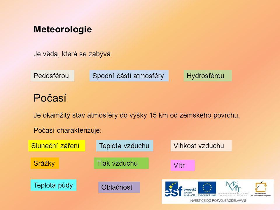 Meteorologie Je věda, která se zabývá Spodní částí atmosféryPedosférouHydrosférou Počasí Je okamžitý stav atmosféry do výšky 15 km od zemského povrchu.