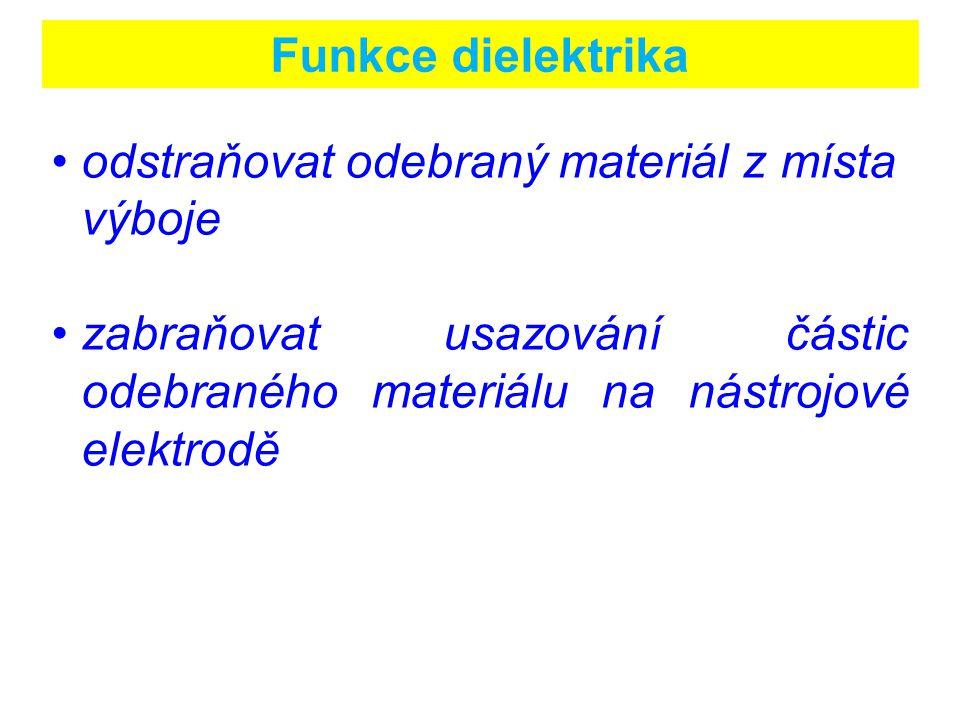 Funkce dielektrika odstraňovat odebraný materiál z místa výboje zabraňovat usazování částic odebraného materiálu na nástrojové elektrodě
