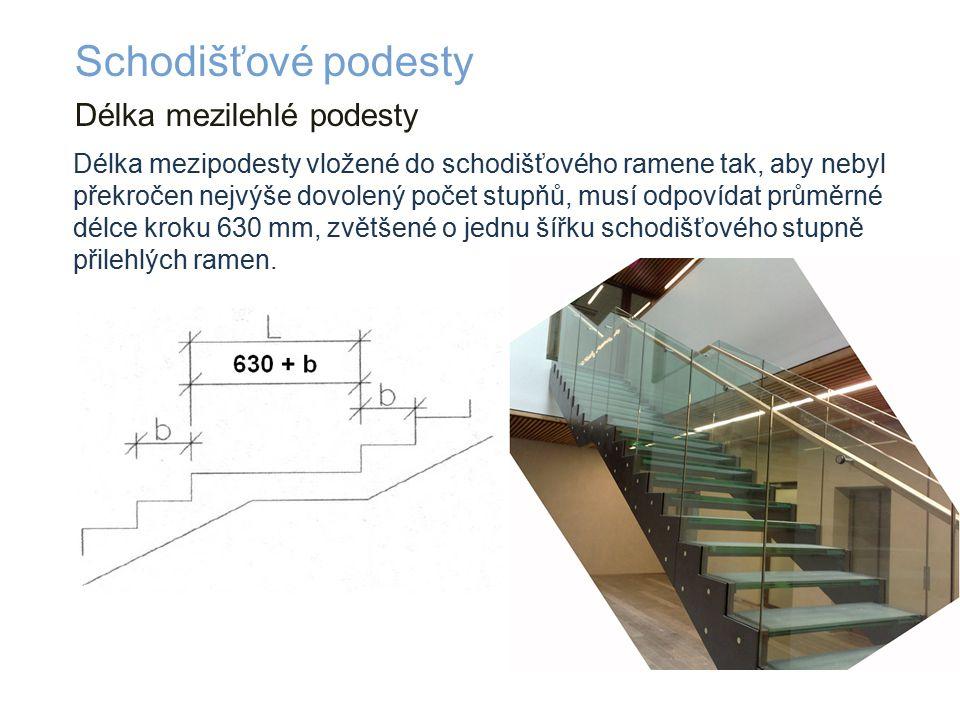 Délka mezilehlé podesty Schodišťové podesty Délka mezipodesty vložené do schodišťového ramene tak, aby nebyl překročen nejvýše dovolený počet stupňů, musí odpovídat průměrné délce kroku 630 mm, zvětšené o jednu šířku schodišťového stupně přilehlých ramen.